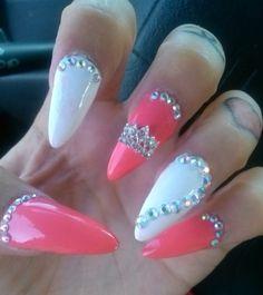 White pink stiletto nails
