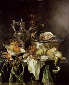 Abraham van Beyeren (1620/21-1690), Still Life with a Silver Wine Jar with a Reflected Portrait of the Artist, c. 1657, oil on canvas, Ashmolean Museum, Oxford, Great Britain