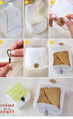 DIY lunch box!  Cut milk jug (as shown in the picture)  - Cut along inside lines to remove any leftover pieces - Bend down all four flaps so it starts taking the form of a container - ✌️To create a button loop enclosure, sew on a button to the lid.  - Directly underneath on the bottom base of the milk jug, pierce a hole with the edge of your scissors. Run a hair band halfway through, knotting the inside of the container to hold it in place.