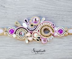 Luxurious handmade soutache bracelet with preciosa by Sengabeads