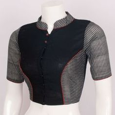 Hand Crafted Cotton Blouse With Collar Neck 10013920 – size 34 – AVISHYA.COM   -  #blousedesigns #blousedesignsForFatWomen #blousedesignsModels #blousedesignsWestern