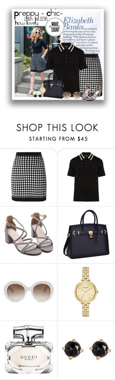 """Elizabeth Banks - Preppy Chic 28.July 2106"" by no-where-girl ❤ liked on Polyvore featuring Balmain, Burberry, Gucci, Kate Spade and Irene Neuwirth"