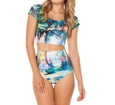 Sexy Cheshire Cat Nana Printed Crop Top w/High Waisted Bottoms Tankini Bathing Suit One SIze