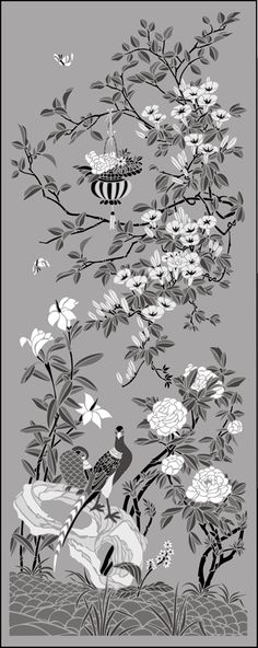 Chinese Style Morning Glory Panel stencils, stensils and stencles