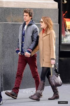 Emma Stone In New York City with Andrew Garfield