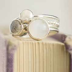 Mist Moonstone And Labradorite Stacking Rings - women's jewellery