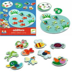 This versatile game is brilliant for creating understanding of quantity, counting, addition & subtraction. The 40 colourful bug tokens enable your child to physically count & sort objects to begin with. They move onto matching the objects to the numbers & then onto following the visual instructions such as placing two ducks in the pond and adding four frogs, as an example. How many animals do you have altogether now? Turn the card over to check the answer.