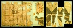 The Turin Papyrus Map is an ancient Egyptian map, generally considered the oldest surviving map of topographical interest from the ancient world. Besides being a topographic map of surprisingly modern aspect, the Turin Papyrus is also a geological map (the earliest known) because it accurately shows the local distribution of different rock types (with black and pink hills).