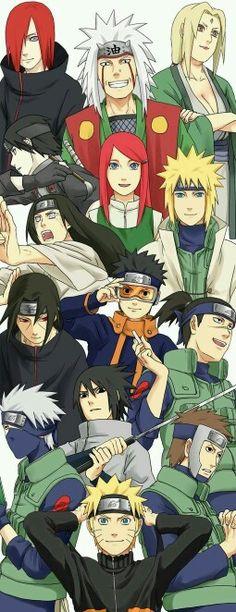 Nagato, Jiraya, Tsunade, Sai, Kushina, Neji, Minato, Itachi, Obito, Iruka, Kakashi, Sasuke, Yamato and Naruto