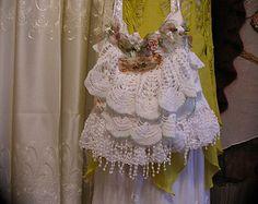 Mehrschichtige Doily Tasche, romantische verschönert Spitze Deckchen Geldbörse, Hütte schäbig n schicke Umhängetasche, Handtasche Deckchen