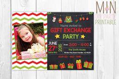 Gift Exchange Photo Invitation, hristmas Gift Exchange Invitations, Winter Party, Party Invitations, Secret Santa, Christmas Invitations by minprintable on Etsy https://www.etsy.com/listing/258166792/gift-exchange-photo-invitation-hristmas