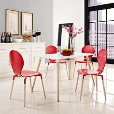 Fleetwood White Dining Table | Red Dining Chairs | Color Block | Modern Dining | Eurway