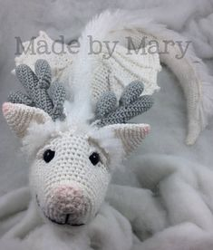 Crochet Dragon Pattern - by Made by Mary ***This listing is for a PDF crochet pattern, NOT an actual doll*** This huggable Winter Dragon is a beautiful fantasy toy or decoration! This pattern is written in English, using US Crochet Terms. Doll is made using amigurumi, working in the