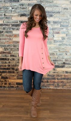 The Pink Lily Boutique - Pink Side Button Tunic, $34.00 (http://thepinklilyboutique.com/pink-side-button-tunic/)