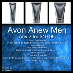 Anew for Men. the Gel clenser; After Shave Balm and Protective Save Gel offers everything they need to get their day off to a great shart! See at: www.youravon.com/lindabacho #avonrep