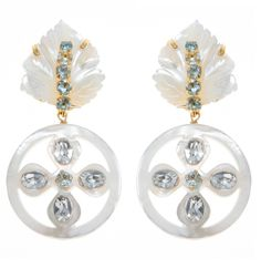 Earrings with Carved Mother of Pearl, Blue Topaz and Crystal