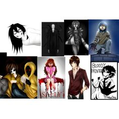 creepypasta charecters (some) by djm44 on Polyvore featuring art