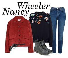 """""""Nancy Wheeler - Stranger Things"""" by runnerbye ❤ liked on Polyvore featuring Topshop, Victoria, Victoria Beckham, Michael Kors, JustFab, Zara, Revolver, 80s, nostalgia, eighties and StrangerThings"""
