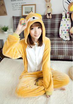 Flannel family animal pajamas one piece onsies onesies cosplay rilakkuma pajamas rilakkuma onesie pijamas enteros de animales