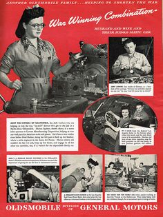 'It's a war winning combination!' Husband and wife manage working at Cannon plant & family life with help of a dependable auto.  Oldsmobile advertisement
