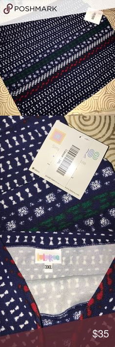 BNWT lularoe 3x Cassie skirt navy w/alpine pattern BNWT lularoe 3x Cassie skirt navy w/alpine pattern in white red and green. Fun year round but perfect for winter holidays! See 5th picture- lined up across seam from front to back LuLaRoe Skirts Pencil