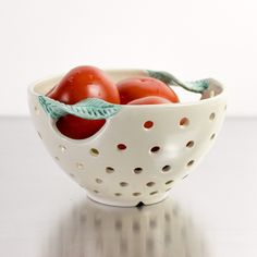 Fresh White Pottery Colander with green twisted leaf handles by BlueRoomPottery | BlueRoomPottery... plus (+)