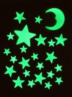Starry Starry Night Stick-On Glow Moon & Stars   Hot Topic