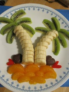 Fruit Palms and Dove chocolate hearts - Valentines Day!