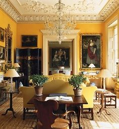 English Country Home Drawing Room. Yellow is such a happy color and makes it less fussy!