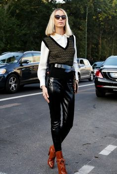 Louis Vuitton patent leather. #IlonaStolie in Paris.