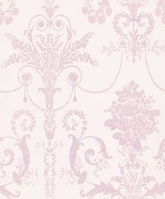 Josette Carnation (3453162) - Laura Ashley Wallpapers - An ornate and elegant damask, featuring glamorous chandeliers and romantic rose bouquets in the stylish combination of white and carnation pink. Please request a sample for true colour match.