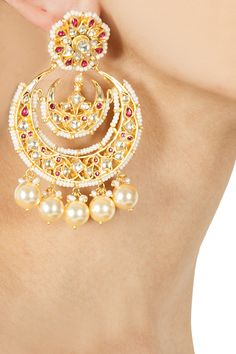 Kundan Chand bali with Pearls available only at House of Mo:r