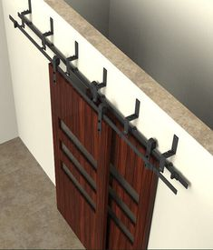 150cm / 183cm / 200cm / 244cm  Bypass Sliding Barn Wood Door Hardware Interior Sliding Door Black Rustic Sliding Track Kit