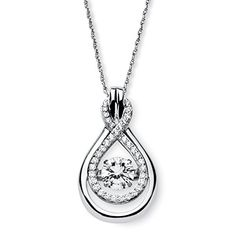 White CZ in Motion Cubic Zirconia Platinum over 925 Sterling Silver Double Loop Necklace 18 *** You can find more details by visiting the image link.