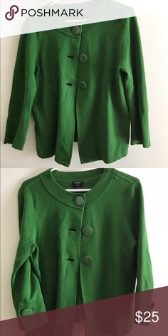 green sweater/coat 🍁🍁 super cute green coat with 3 big buttons. big buttons on sleeve. 3/4 length sleeves. unique. worn once. 🍁🍁 Talbots Sweaters