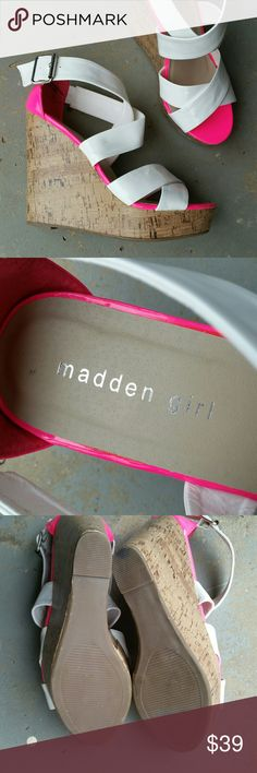 """MADDEN GIRL WHITE PINK WEDGE PLATFORM HEELS Madden Girl white patent and hot pink sandal wedge platform heels. Buckle ankle. Never worn, new without tags.  They do have 4 small pink marks shown in the picture collage. Hardly noticeable.  5"""" heel. 1"""" platform. Steve Madden Shoes Platforms"""