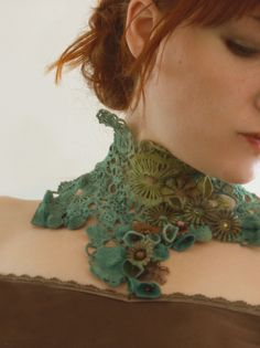 Necklace | Nathalie Grelier ~ Racines & Pampilles Designs. 'Edge of Autumn'. Handmade crochet piece combined with pieces recycled from old watches and flower beads.