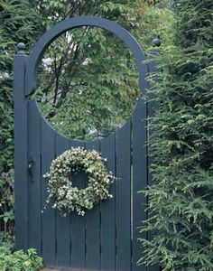 Gates of Our Dreams Simple and pretty -- makes me wish I had a formal garden for it!Simple and pretty -- makes me wish I had a formal garden for it! Wooden Garden Gate, Garden Gates And Fencing, Wooden Gates, Fences, Garden Arbor With Gate, Fence Gates, Garden Entrance, Garden Doors, Entrance Gates