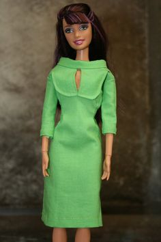 Barbie dress made from scaled down vintage womens sewing pattern