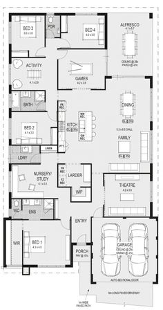 Container House - 4 bedrooms/ bathrooms/ game room/ activity room/ study/ theatre/ kitchen/ dining/ family/ laundry/ alfresco/ 2 car garage - Who Else Wants Simple Step-By-Step Plans To Design And Build A Container Home From Scratch? New House Plans, Dream House Plans, Modern House Plans, House Floor Plans, My Dream Home, The Plan, How To Plan, Bedroom House Plans, House Rooms