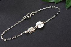 Personalized Elephant Bracelet  Elephant Charm by SarahOfSweden, $35.00