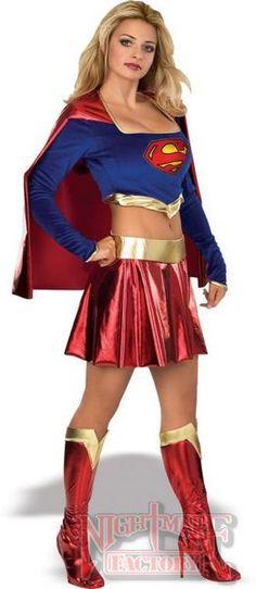 NEW ADULTS SUPERGIRL SUPERMAN SUPERHERO COSTUME FANCY DRESS LADIES SIZE SM-MED