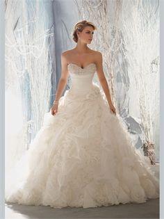 White Ball Beading Sweetheart Organza 2013 Wedding Dresses