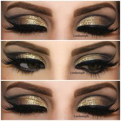 .@Linda Bruinenberg Murrieta | ✨✨ cut crease and glitter, a golden combo ✨ i used Sally girl glitter over ...