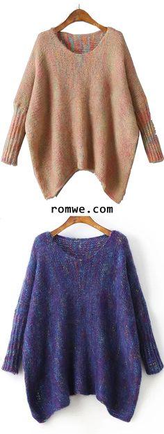 Batwing Sleeve Asymmetrical Marled Knit Sweater