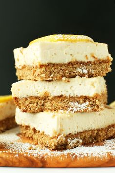 PERFECT Creamy Vegan Lemon Bars!  I'm going to skip arrowroot, double the filling using my cashew sour cream while tripling the lemon in the sour cream and spoon on top of baked crust and fridgedate