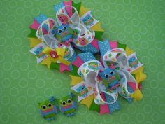 Spring Owl Hair Bow Set by RubySweets on Etsy, $15.00