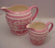 Pair of Pink Polychrome Luster Ware Sadler England Pitchers Grape Motif | eBay