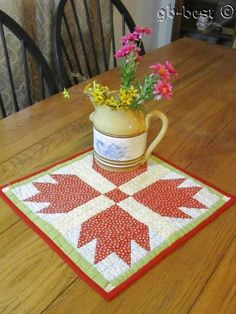 Farm House 1890s Bears Paw TABLE Doll Antique Quilt RED Green 15 x 15