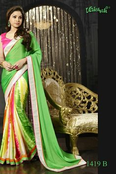 ♥ Taka ♥ Saree Code ♥ Material - Amazing embellished italian satin crepe ♥ Blouse - Unstitched & included ♥ ♥ Embroidered - A touch of embroidered border Designer Sarees Collection, Saree Collection, Casual Saree, Blouse Designs, Color Combinations, Compliments, 28 April, Chiffon, Sari